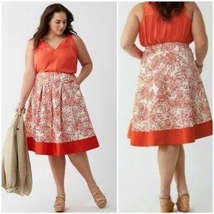 {20} Lane Bryant Orange Leaf Print Linen Skirt
